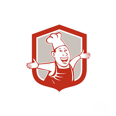 Chef Cook Happy Arms Out Shield Cartoon Poster by Aloysius Patrimonio