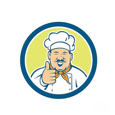 Chef Cook Happy Thumbs Up Circle Retro Poster by Aloysius Patrimonio