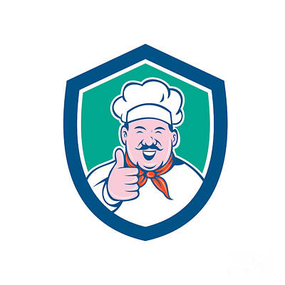 Chef Cook Happy Thumbs Up Shield Cartoon Poster by Aloysius Patrimonio