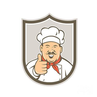 Chef Cook Happy Thumbs Up Shield Retro Poster by Aloysius Patrimonio