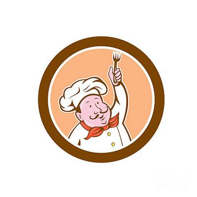 Chef Cook Holding Fork Cartoon Poster by Aloysius Patrimonio