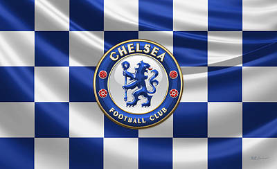 Chelsea Fc - 3d Badge Over Flag Poster by Serge Averbukh
