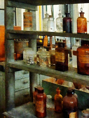 Chemist - Bottles Of Chemicals Tall And Short Poster by Susan Savad