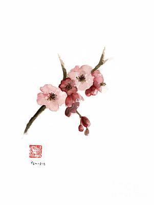 Cherry Blossom Sakura  Pink Tree Delicate White Flower Flowers Branch Watercolor Painting Poster by Johana Szmerdt