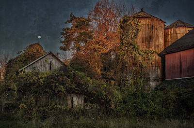 Full Moon Over Tobin's Farm - A Connecticut Autumn Scenic Poster by Thomas Schoeller