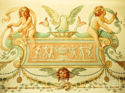 Cherubs By A Fountain Poster by Colleen Kammerer