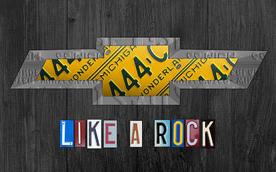 Chevrolet Vintage Logo License Plate Art Like A Rock On Wood Boards Poster by Design Turnpike