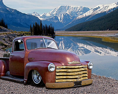Chevy Pick Up In The Rockies Poster by Gill Billington