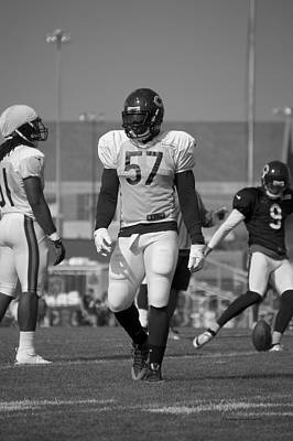 Chicago Bears Lb Jonathan Bostic Training Camp 2014 Bw Poster by Thomas Woolworth