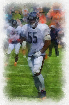 Chicago Bears Lb Lance Briggs Training Camp 2014 Pa 01 Poster by Thomas Woolworth
