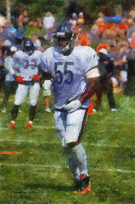 Chicago Bears Lb Lance Briggs Training Camp 2014 Photo Art 02 Poster by Thomas Woolworth