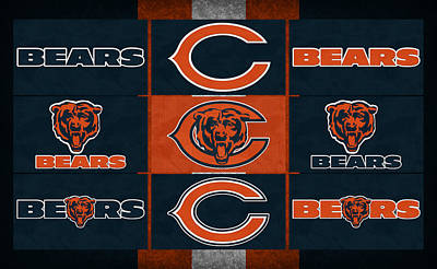 Chicago Bears Uniform Patches Poster by Joe Hamilton