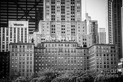 Chicago Drake Hotel In Black And White Poster by Paul Velgos