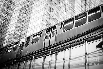 Chicago Elevated El Train In Black And White Poster by Paul Velgos