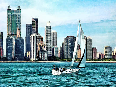 Chicago Il - Sailboat Against Chicago Skyline Poster by Susan Savad