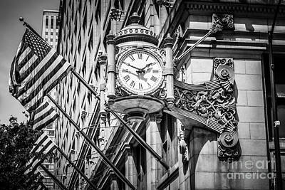 Chicago Marshall Fields Clock In Black And White Poster by Paul Velgos