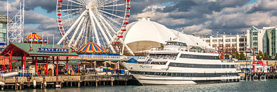 Chicago Navy Pier Panoramic Photo Poster by Paul Velgos