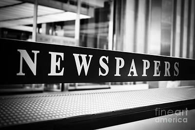 Chicago Newspapers Stand Sign In Black And White Poster by Paul Velgos