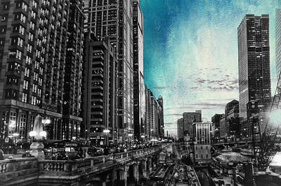Chicago River Hdr Sc Textured Poster by Thomas Woolworth