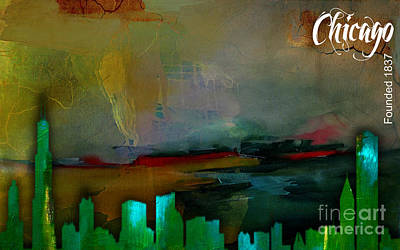 Chicago Skyline Watercolor Poster by Marvin Blaine