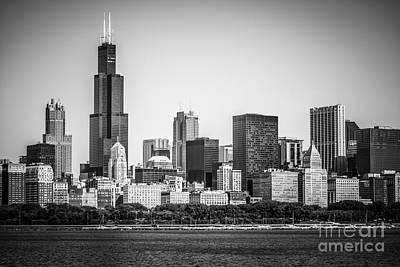 Chicago Skyline With Sears Tower In Black And White Poster by Paul Velgos