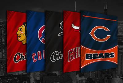 Chicago Sports Teams Poster by Joe Hamilton