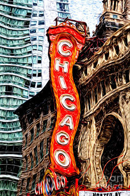 Chicago Theater Sign Digital Painting Poster by Paul Velgos