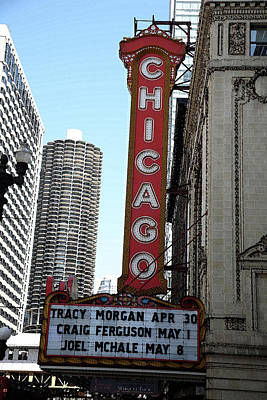 Chicago Theater With Watercolor Effect Poster by Frank Romeo