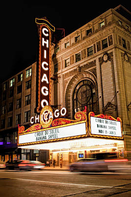 Chicago Theatre Marquee Sign At Night Poster by Christopher Arndt