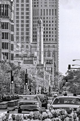 Chicago Water Tower Beacon Black And White Poster by Christopher Arndt