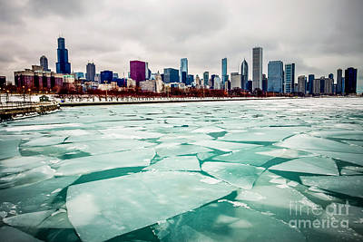 Chicago Winter Skyline Poster by Paul Velgos
