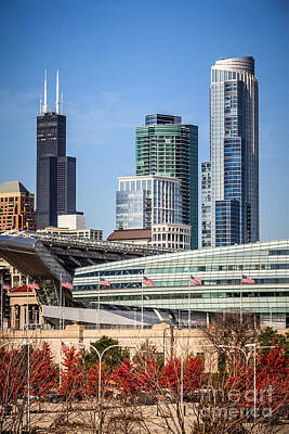 Chicago With Soldier Field And Sears Tower Poster by Paul Velgos