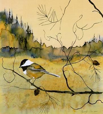 Chickadee In Dancing Pine Poster by Carolyn Doe