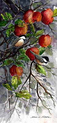 Chickadees Apple Tree Poster by Steven Schultz