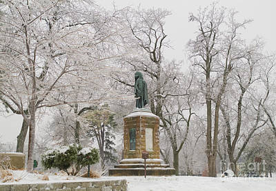 Chief Keokuk Statue In Ice Storm Poster by Ed Vinson