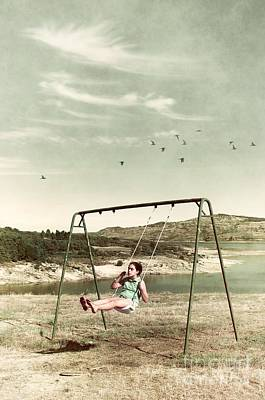 Child In A Swing Poster by Carlos Caetano