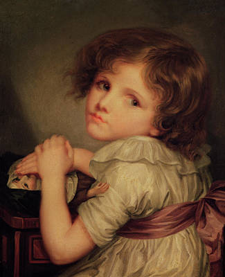 Child With A Doll Oil On Canvas Poster by Anne Genevieve Greuze