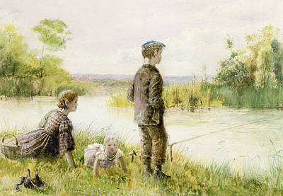 Children Fishing By A Stream Poster by George Goodwin Kilburne