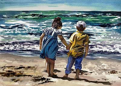 Children On The Beach Poster by Maureen Dean
