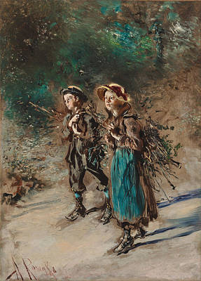 Children With Brushwood Poster by Anton Romako