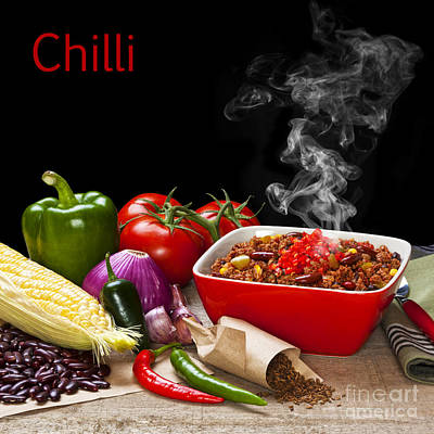 Chilli And Ingredients With Steam Rising Poster by Colin and Linda McKie