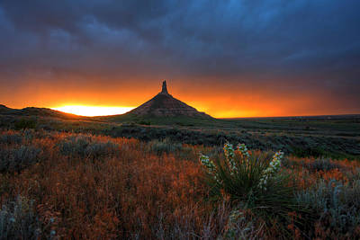 Chimney Rock Sunset Poster by Chris Allington