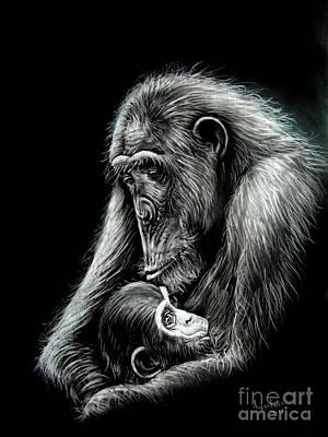 Chimp Love Poster by Anastasis  Anastasi