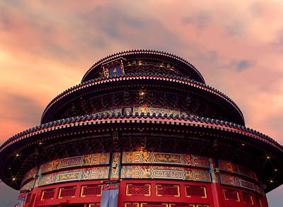 China Pavilion At Sunset Poster by Lourry Legarde