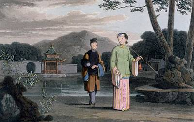Chinese Lady With Pavilion Poster by Thomas & William Daniell