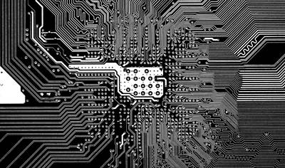 Chipset Black And White Poster by Alex Hiemstra