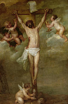 Christ Attended By Angels Holding Chalices Poster by Peter Paul Rubens