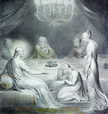 Christ In The House Of Martha And Mary Or The Penitent Magdalene Poster by William Blake