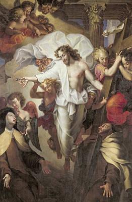 Christ Resurrected Between St Teresa Of Avila Poster by Michel des Gobelins Corneille