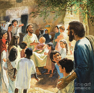 Christ With Children Poster by Peter Seabright